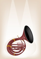 A Musical Sousaphone on Brown Stage Background