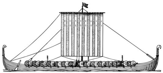 Viking ship (Drakkar) at sea