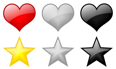 hearts and star icons