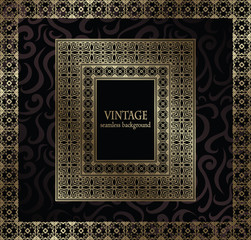 Vintage seamless wallpaper with frame