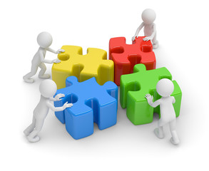 vier puzzle teamwork