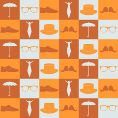 Seamless pattern with various hipster elements