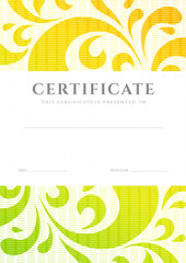 Colorful Certificate / Diploma template. Scroll pattern