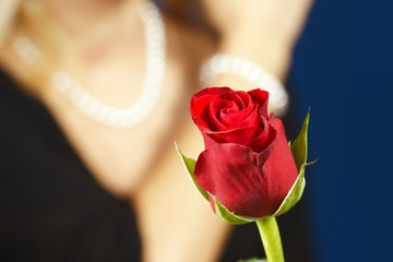 Red rose and a girl with pearls