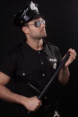Policeman looking up