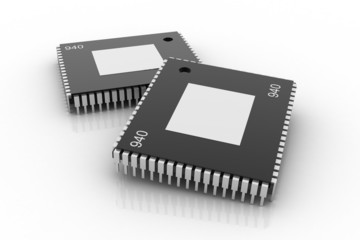 Electronic integrated circuit chip on a white background