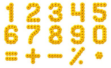 Numerals Alphabet of yellow flowers