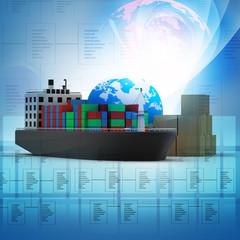 Digital illustration of  World cargo transport concept