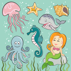 Vector Set of  Sea Creatures