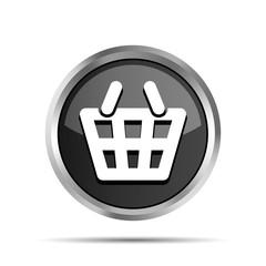Black shopping basket icon on a white background