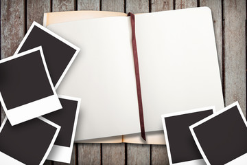 photo and notebook on woodground