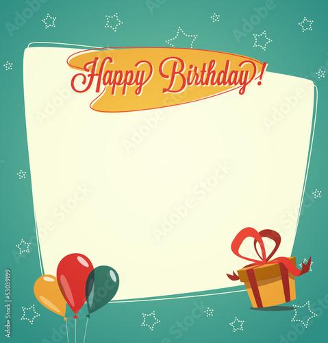 Retro Vintage Happy Birthday Card Stock Image And Royalty Free
