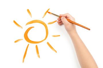 child draw a sun
