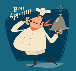Restaurant chef, retro illustration
