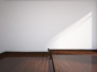 white empty interior with wooden floor