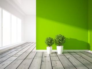 green interior with wooden floor