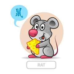 Chinese zodiac sign rat. vector