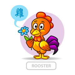 Chinese zodiac sign rooster. vector