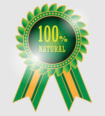 100 percent natural label, vector illustration