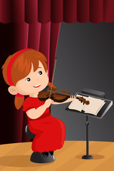 A girl playing violin