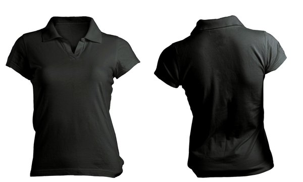 black women's polo shirt template, front and back