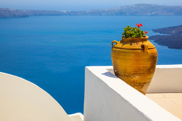 Fototapete - Greece Santorini island in Cyclades, traditional detail sights o