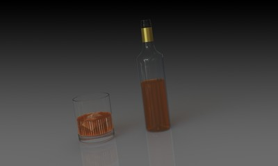 Bottle of whiskey and glass isolated dark background