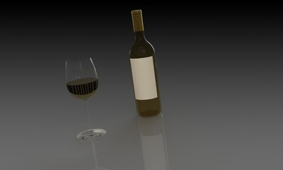 Bottle of white wine and glass isolated dark background