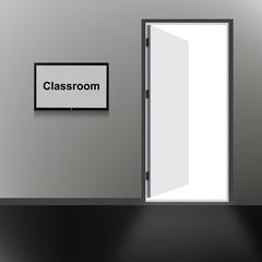 Open Door with Classroom text