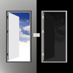 Two doors, Day and night The concept has two aspects
