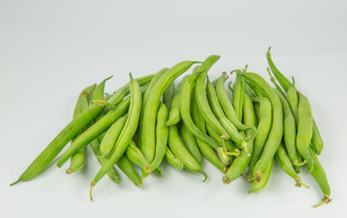 A group of fresh green beans
