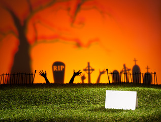 Halloween landscape with table card