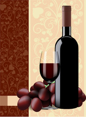 Bottle, glass of wine and grapes on floral background