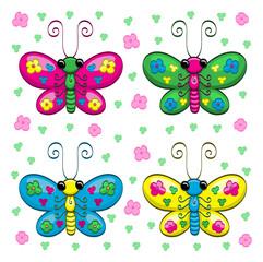 Cute cartoon butterflies and flowers