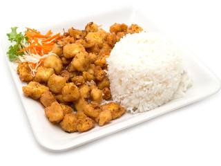 Garlic chicken rice isolated on white