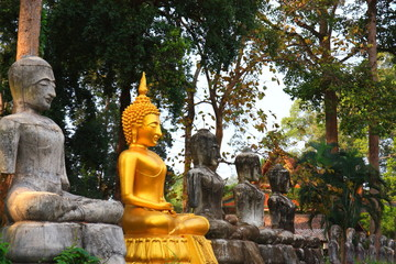 Old and new Buddha statue at Thailand temple