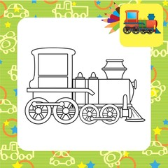 Train toy. Coloring book. Vector