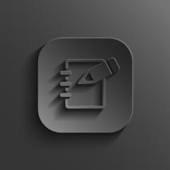 Notepad icon - vector black app button