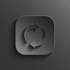 Refresh icon - vector black app button