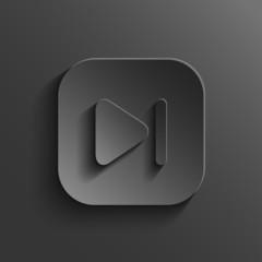 Media player icon - vector black app button