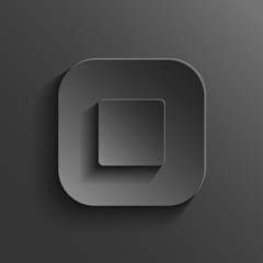 Stop  - media player icon - vector black app button