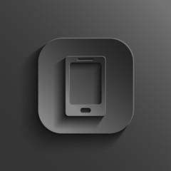 Smartphone icon - vector black app button