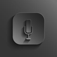 Microphone icon - vector black app button