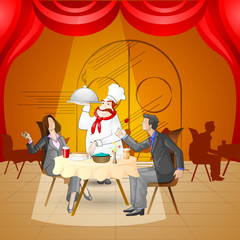 vector illustration of couple in restaurant while chef serving