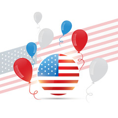 american flag design with balloons