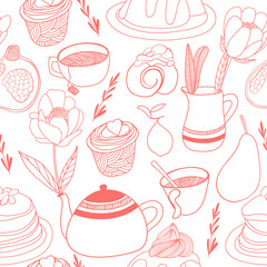 Tea party with flowers. Seamless vector pattern