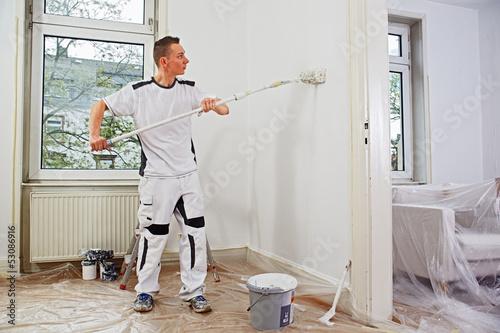 professional painter at work stockfotos und lizenzfreie bilder auf bild 53086916. Black Bedroom Furniture Sets. Home Design Ideas