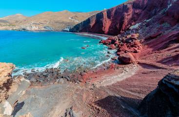 Fototapete - Greece Santorini island in Cyclades,  beautiful  wide panoramic