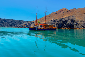 Fototapete - Greece Santorini island in Cyclades,  beautiful  wide view of th