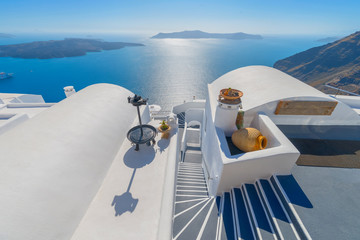 Greece Santorini island in Cyclades,  beautiful and colorful wid